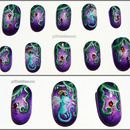 Hand painted nail art - fairy dragons!