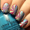 Star Burst Water Marble Nail Art
