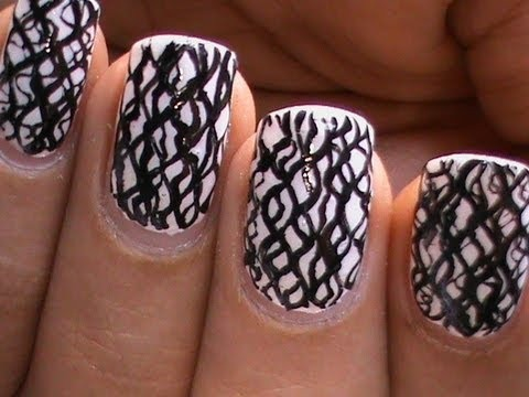 black and white nail art designswaves of nails polish