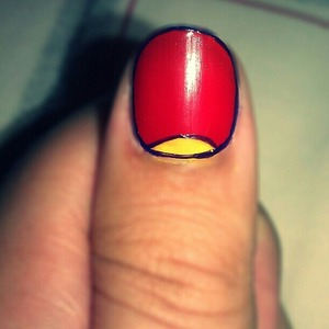 red on the entire nail, yellow half moon and purple outline