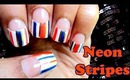 Half moon manicure and neon stripes | Tutorial (Banggood.com)