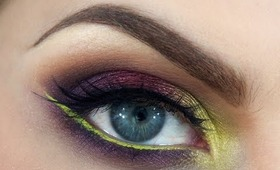 "Fall 2013 Makeup Tutorial: ""Electric Autumn"" - Purple, Red & Green with Neon Liner"