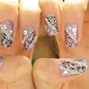 Lavendar Cheetah Print Nails with Jewels and Chains