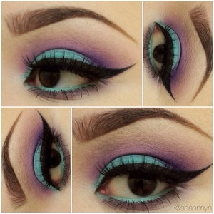 Super obsessed with Stila's Smudgestick Liner in Turquoise. I also used Make Up For Ever's #92 eyeshadow. One of the best purple eyeshadows!