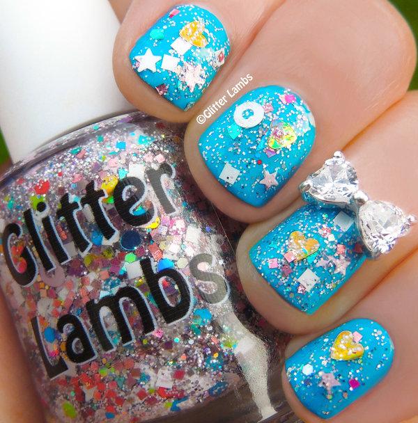 Cotton Candy Glitter Nails: Cotton Candy Bubble Bath Glitter Nails