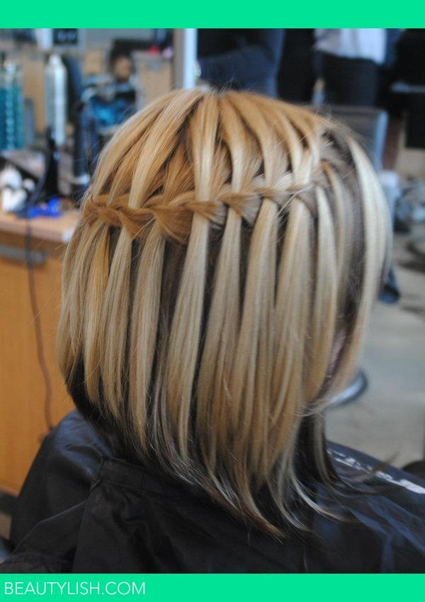 Прическа водопад из коротких волос