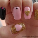 Pink and Gold Nails