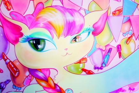 Beautylish Miss Kittys mural by artist Malcolm Stuart