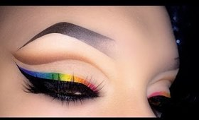 Sexy Cut Crease with Rainbow Eyeliner - Spring Makeup Tutorial
