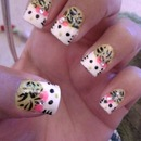 Hello kitty cheetah nails