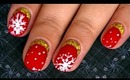 Christmas Glamorous Red and Gold Ruffian Inspired Nail Art Design