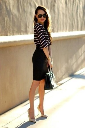 Black Pencil Skirt Outfit Ideas. | Beautylish