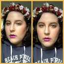 Peachy Bronze Eyes And Face. Magenta Purple Lips!