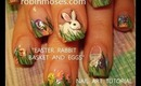 EASTER bunny in grass with hidden eggs design: robin moses nail art tutorial