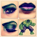 The Hulk comic makeup look