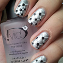 Silver and White Quilted Nails