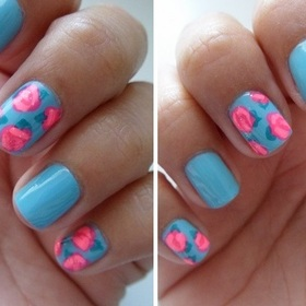 Check out my quick 5 step tutorial for this design! I wear it all the time! I can do it in my sleep! http://andreamrllo.com/post/21366214152/floralnails