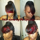 Red n Blk Bang with ponytail