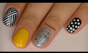 Basket Weave, Color, Glitter and Dots Nail Design