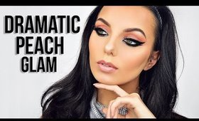 Dramatic Peach & Gold Glitter Makeup | Chloe Viv
