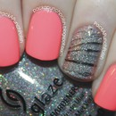 Neon Pink Nails with a Glitter Zebra Watermarble Accent Nail