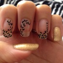 Gold and black leopard manicure
