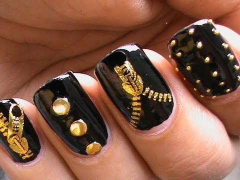 Garage Chic Biker Studded Nails Art Designs Zip Nail Water Decals