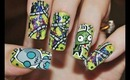 Invader Zim (Gir) Nail Art Tutorial
