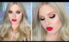 Bombshell Hair & Makeup Tutorial ♡ Christmas Holiday Themed!