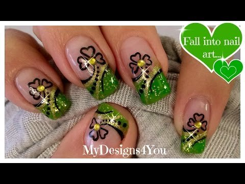 St Patricks Day Nail Art Abstract Green And Gold Shamrock French