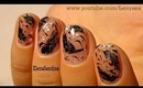 Black Swan Feather Nail Art Design