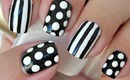 Nail Art - Dots and Stripes - Decoracion de uñas