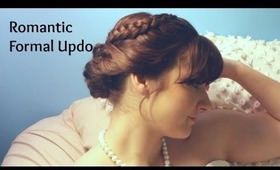 Hair: Romantic Braided Curly Bun Perfect for Weddings and Formal Occasions