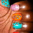 Green and Orange Cheetah with a purple twist