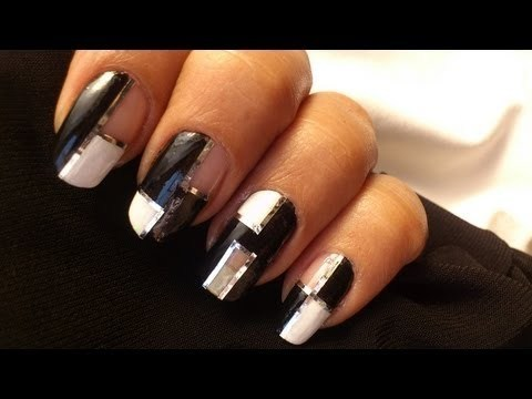 Mod Squares Nails Art Nail Polish Designs Diy Black And White Tutorial For Beginners To Do At