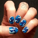 Autism Awareness Puzzle Piece Manicure