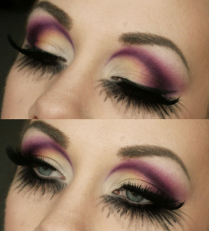 All colors are from 120 palette (purple, pink, light yellow and white) And lashes are from red cherry :)