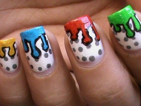 Dripping Paint Nail Art Design