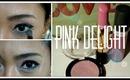 Pink Delight Makeup using Milani powder eyeshadow and Maybelline The Falsies Big eyes mascara