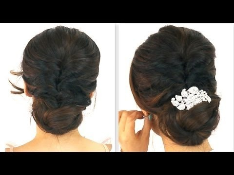★5min easy everyday party updo  ponytail bun hairstyles