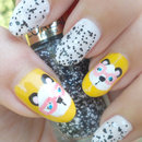 Cute Nerdy Panda Nail Art ☆ using pink glasses!