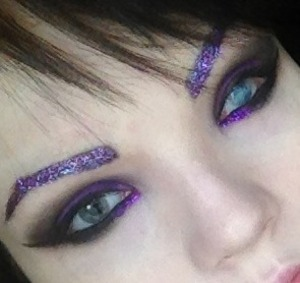 GLITTER EYEBROWS, purple is my favorite color! Yes, that's my real eye. I'm blind in my left eye.