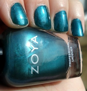 1 coat of zoya's 'Akyra' over 1 coat of NOPI's 'khloe had a little lam lam'