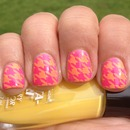 Pink and Yellow Summer Houndstooth Nails