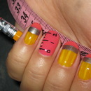 Pencil and Ruler Nail Design