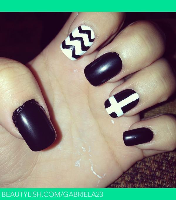 Black Cross Nail Design: Easy blue and black polka dot cross nail ...