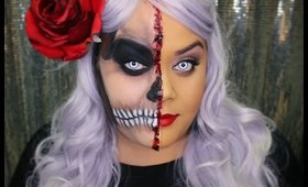 Glamour and skull (half and half makeup) perfect for Halloween