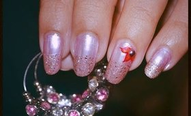 Red Flower and Pink Nails / Nail Art