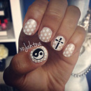 Edgy polka dot nail art