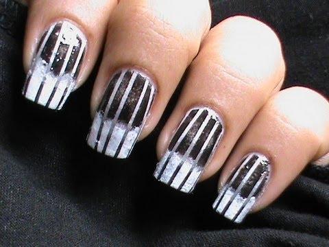 Black And White Gradient Nails Black White Nail Art